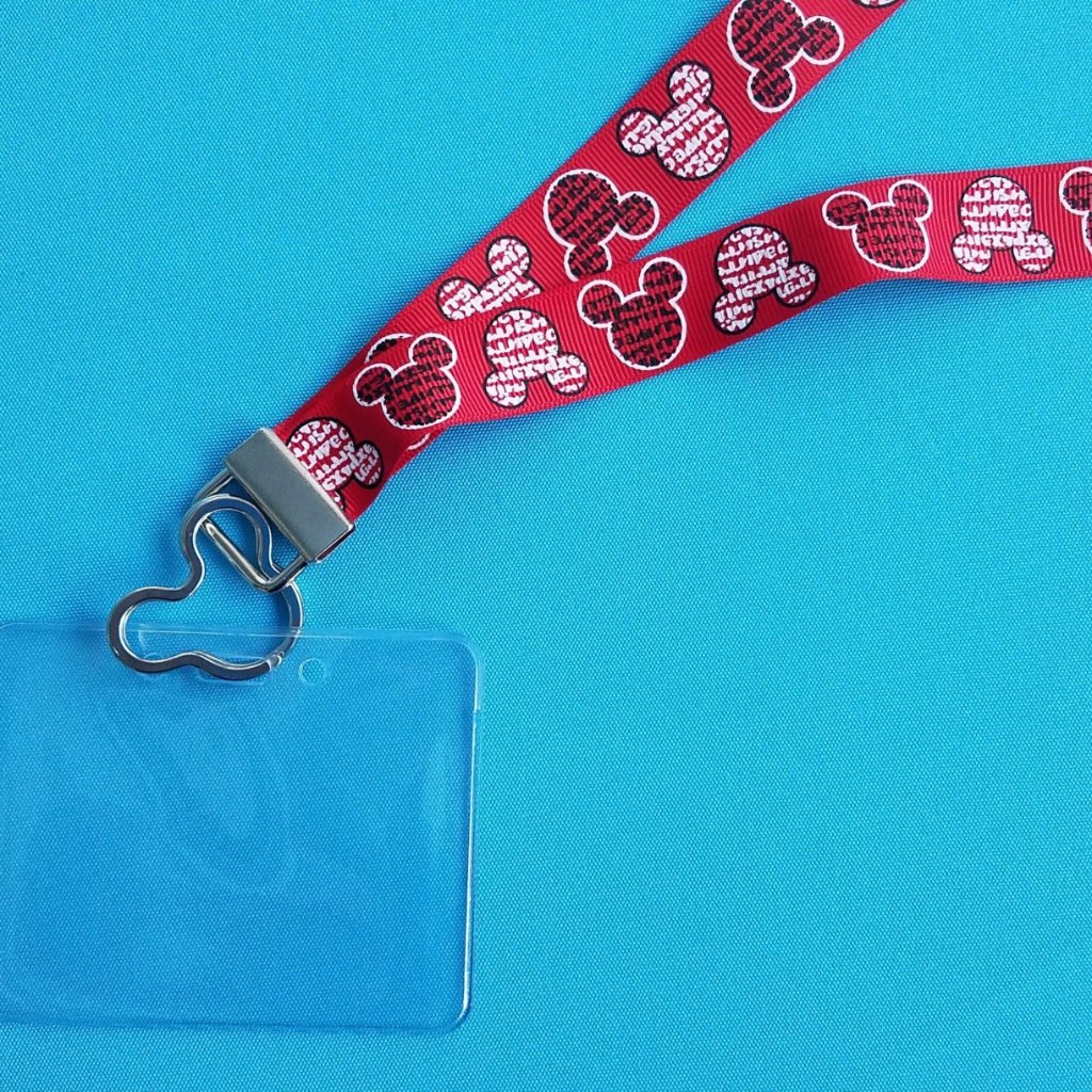 Disney KTTW Card Holder/Lanyard  - Red Mickey Minnie Head Words - Newsprint - Non-scratchy - Child or Adult