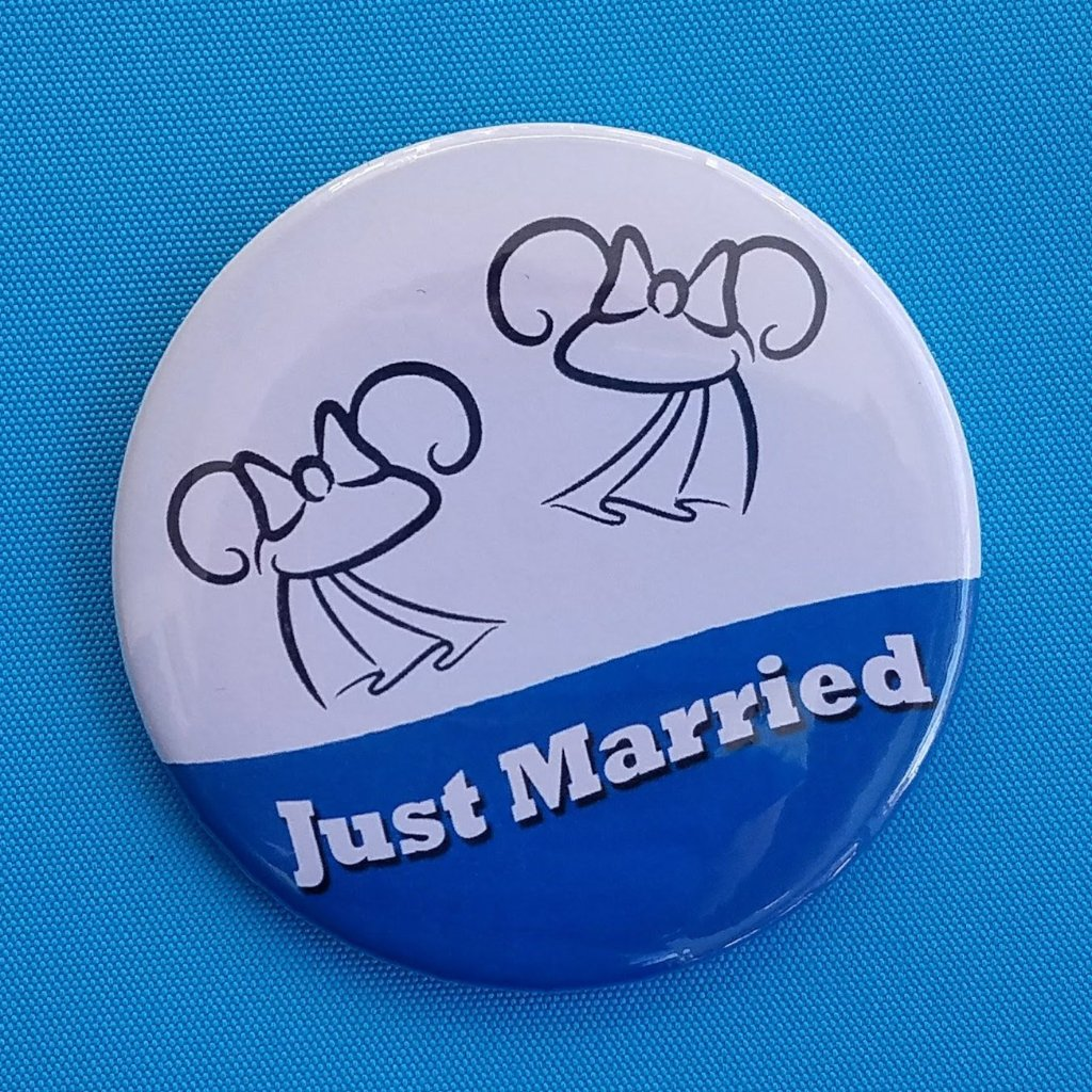 Just Married Ears Button - Two Brides - Mrs & Mrs - Gay Wedding - Disney Cruise - Disney World - Disneyland - Celebration Button - Magnet