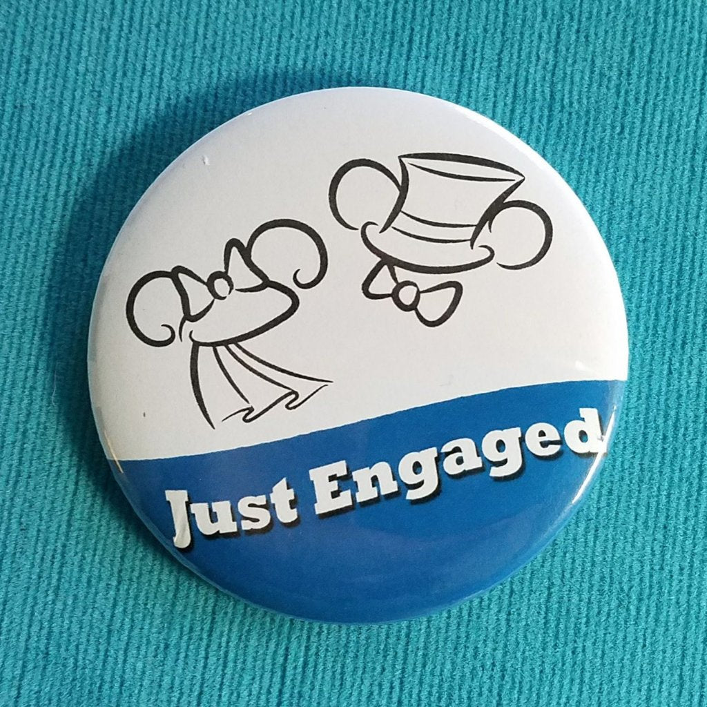 Just Engaged Ears Button - Mr & Mrs - Disney Wedding - Disney Cruise - Disney World - Disneyland - Celebration Button - Magnet - Engagement