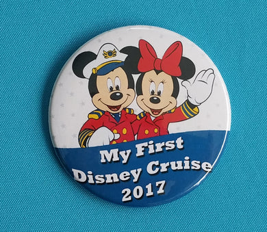 "Disney Cruise - ""My First Disney Cruise"" - 2017 - 2018 - Fish Extender - FE Gift - Celebration Button - Celebration Pin - Pin Back Button"