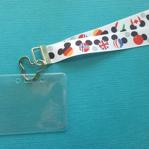Disney KTTW Card Holder/Lanyard  - Nation Mickey Heads - Epcot - Food & Wine - Non-scratchy - Child or Adult
