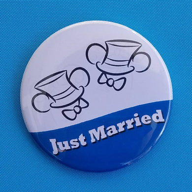 Just Married Ears Button - Two Grooms - Mr & Mr - Gay Wedding - Disney Cruise - Disney World - Disneyland - Celebration Button - Door Magnet