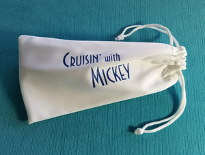 Cruisin with Mickey Sunglasses Pouch - Sunglasses Bag -  Sunglass Case - Microfiber - Disney Cruise Gift - FE Gift - Fish Extender Gift