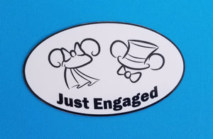 Just Engaged Car Magnet or Sticker - Door Magnet - Mickey and Minnie Just Engaged - Engagement Magnet