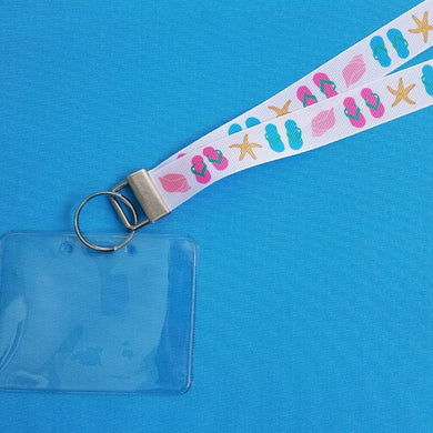 Cruise Lanyard - Vacation Lanyard - Disney Lanyard  - Flip Flop Fun - Flip Flops - Starfish - Seashells - Non-scratchy - Child or Adult