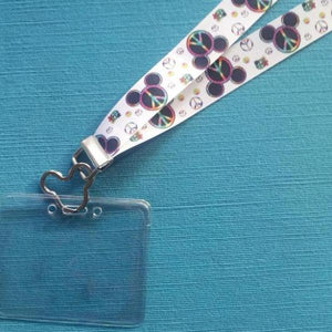 Disney Lanyard - KTTW Card Holder - Peace Sign Mickey Mouse - Non-scratchy - Child or Adult