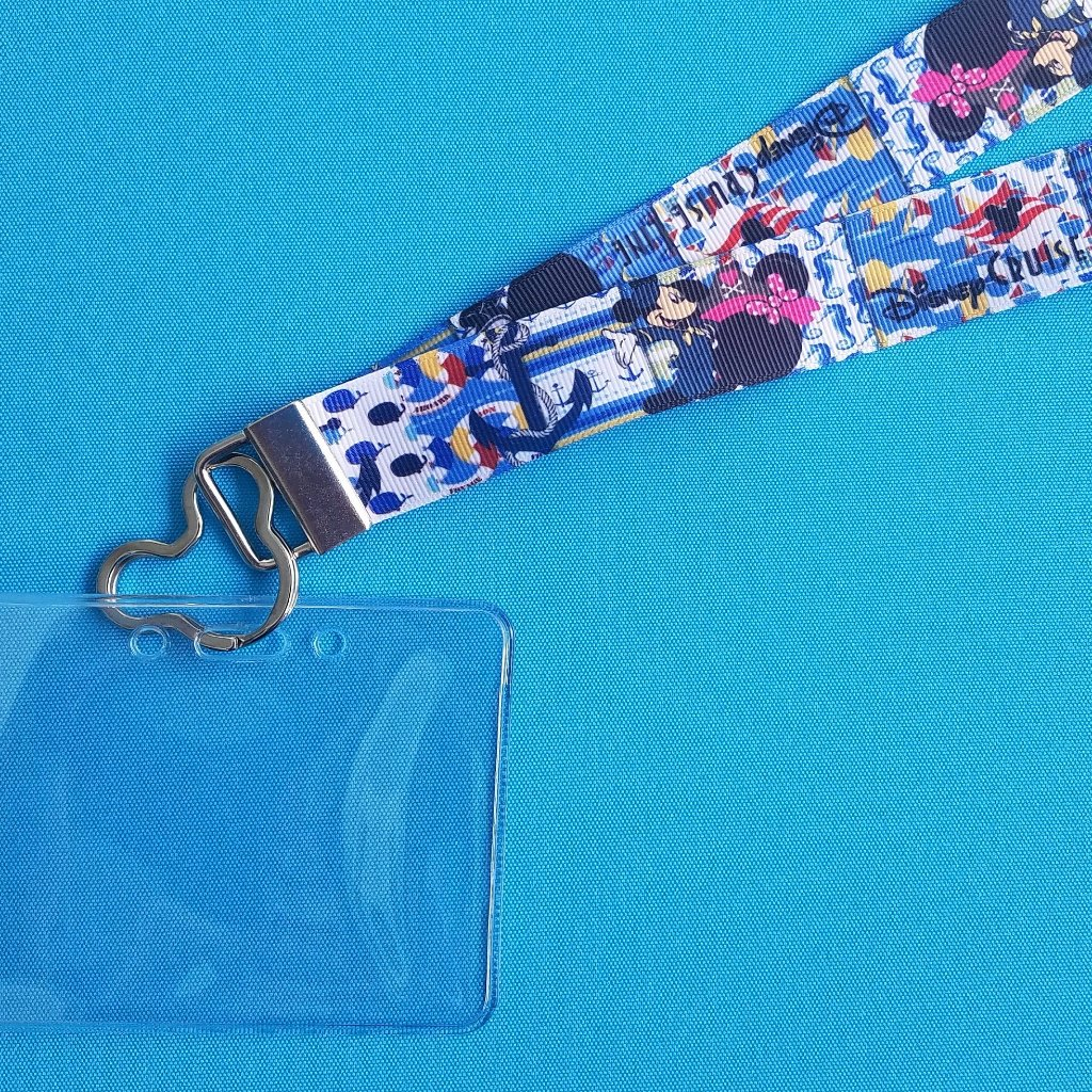 Disney Lanyard  - for KTTW Card - Disney Cruise - DCL - Patchwork Disney Cruise Line - Non-scratchy - Child or Adult - ID Holder