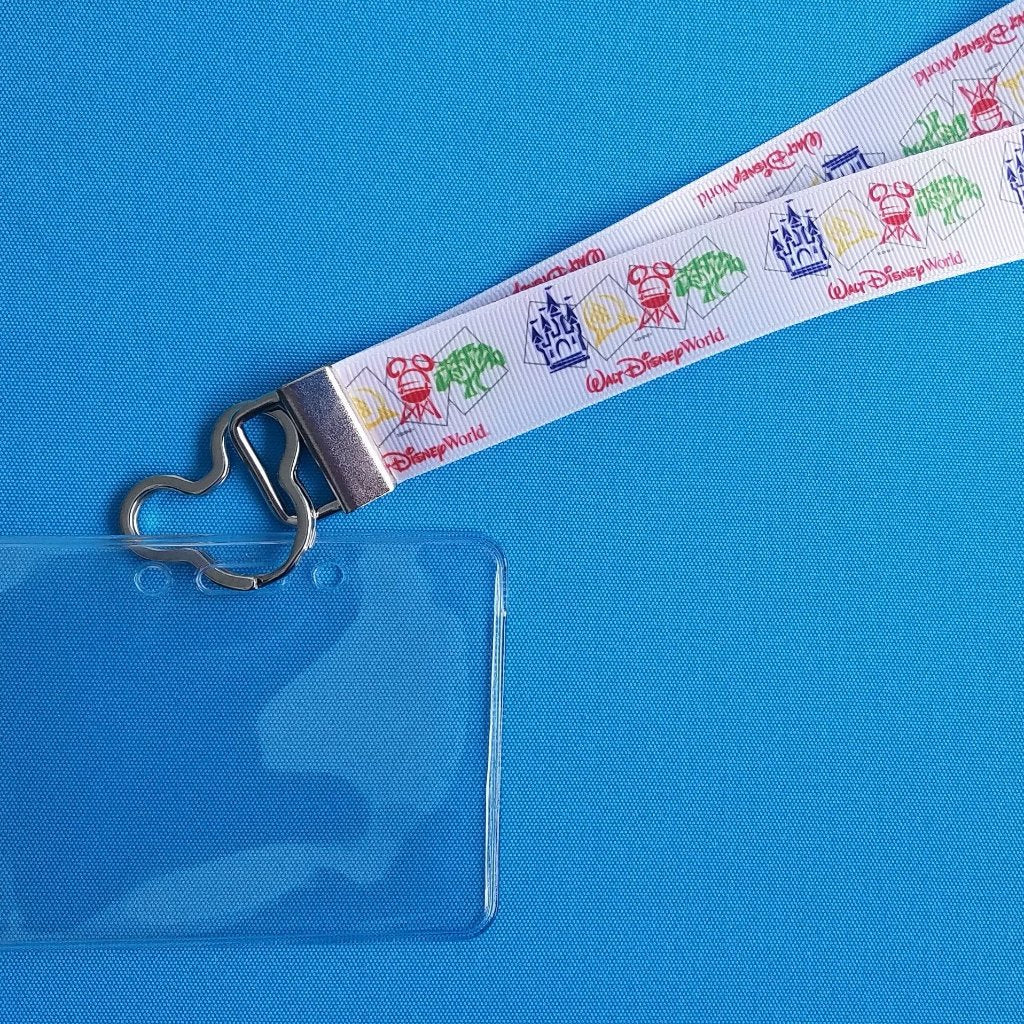 Disney Lanyard  - for KTTW Card - Disney World - Disney Icons - Park Icons - Non-scratchy - Child or Adult - ID Holder