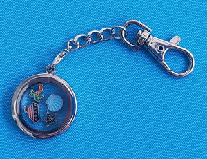 Nautical Memory Locket Key chain - Floating Locket - Cruise Gift - Includes Cruise Ship, palm tree, seashell & starfish - Nautical Gift