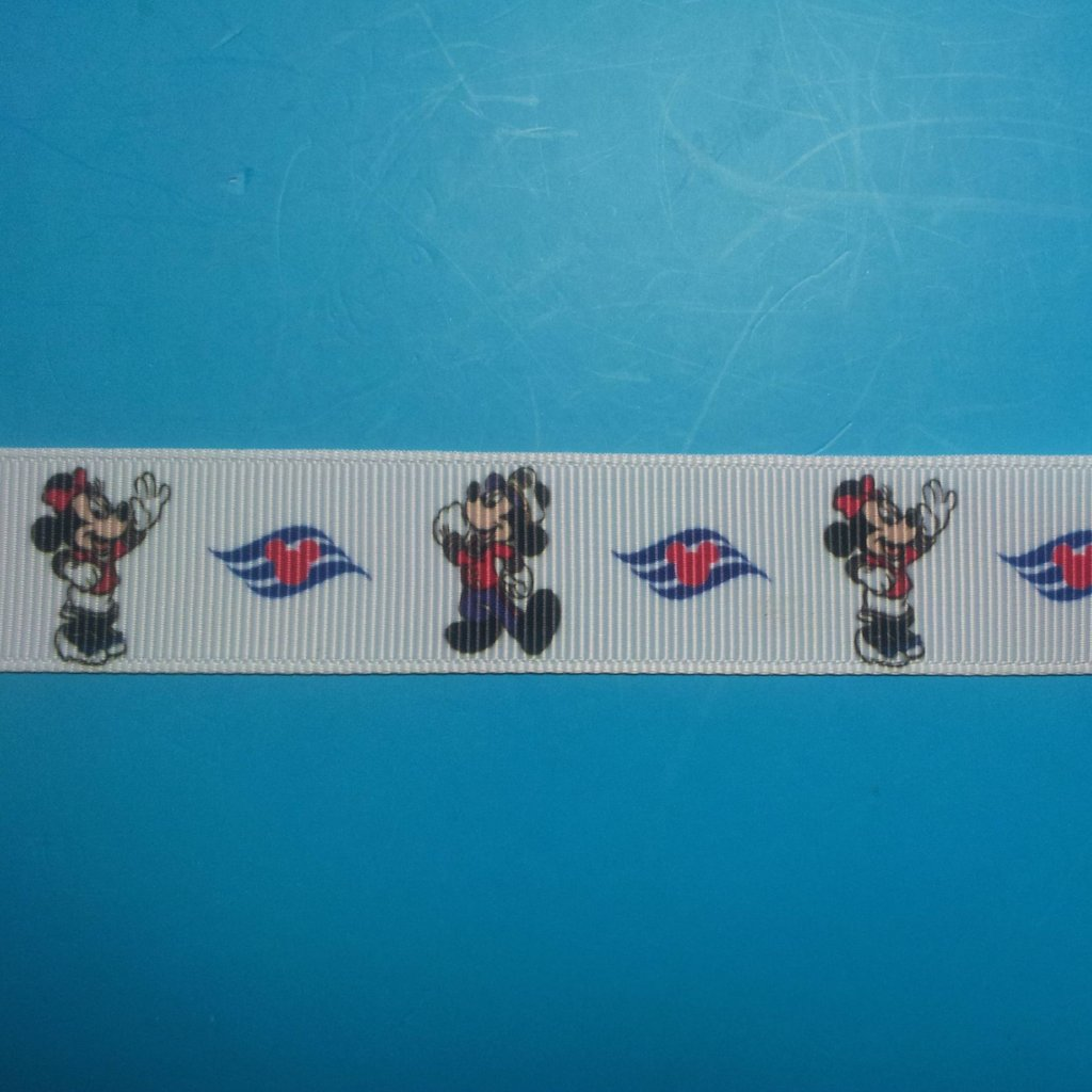 "Disney Cruise Mickey & Minnie 7/8"" Grosgrain Ribbon - Exclusive DCL Design/Limited Availability!"