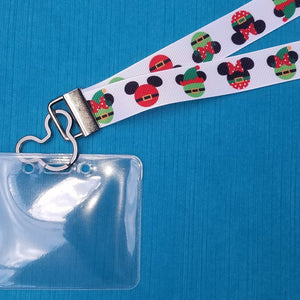 Disney Lanyard  - Mickey & Minnie Elves - Christmas Elf - DCL - Disney World - Disneyland - Non-scratchy - Child or Adult