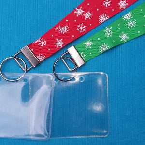 Disney Lanyard  - for KTTW - Holiday Snowflakes - DCL - Disney World - Disneyland - Non-scratchy - Child or Adult - Red or Green