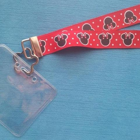 Disney KTTW Card Holder/Lanyard  - Red Minnie Mouse - Non-scratchy - Child or Adult