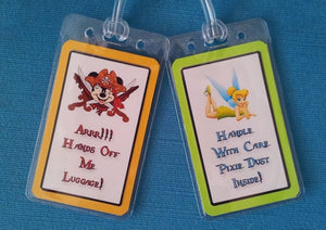 Set of Five Custom Luggage Tags for Your Disney World - Land - Cruise Vacation