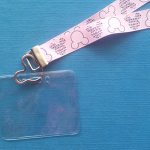 Disney KTTW Card Holder/Lanyard  - Pink Mickey Minnie Head Words Newsprint - Non-scratchy - Child or Adult