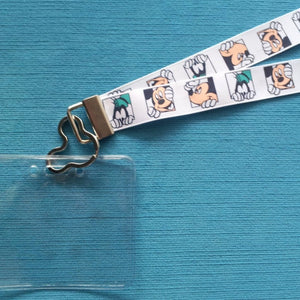 Disney KTTW Card Holder/Lanyard  - Peeking Mickey and Goofy - Non-scratchy - Child or Adult