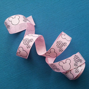 "Minnie Mouse Words in Baby Pink 7/8"" Grosgrain Ribbon"