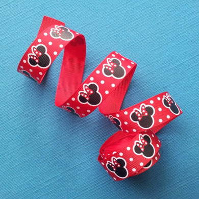 "Minnie Mouse Heads on Red 7/8"" Grosgrain Ribbon"
