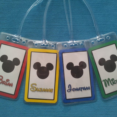 Set of Four Personalized Disney Mickey Head Luggage Tags ~ Custom