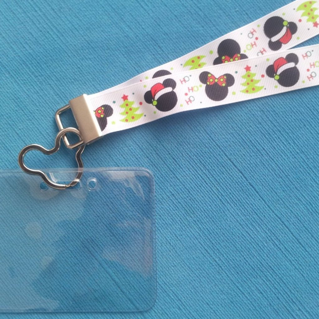 Disney KTTW Card Holder/Lanyard  - Christmas Mickey & Minnie - Non-scratchy - Child or Adult