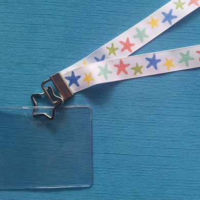 Disney KTTW Card Holder/Lanyard  - Sparkly Starfish - Non-scratchy - Child or Adult