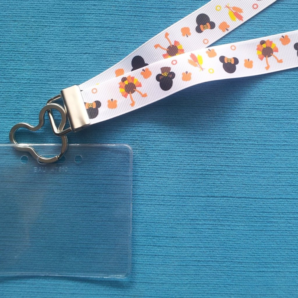 Disney KTTW Card Holder/Lanyard  - Thanksgiving Mickey - Non-scratchy - Child or Adult