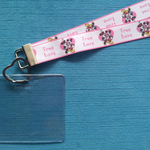 Disney KTTW Card Holder/Lanyard  - True Love Mickey & Minnie - Non-scratchy - Child or Adult