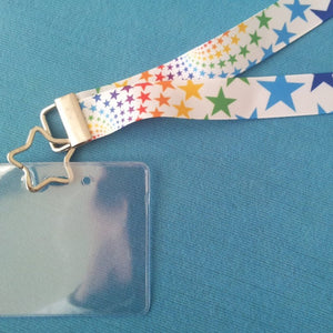 Disney KTTW Card Holder/Lanyard  - Starburst Rainbow - Non-scratchy - Child or Adult