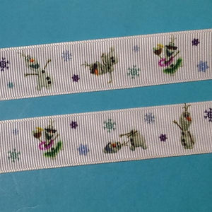 Olaf Ribbon 7/8' Grosgrain - Frozen - Do you wanna build a snowman?! - Exclusive Design Only Available here!