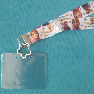 Disney KTTW Card Holder/Lanyard  - Frozen - Elsa and Anna - Non-scratchy - Child or Adult