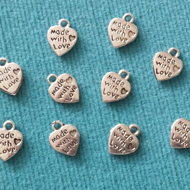 "Charms ~ Tags ~ Pendants ~ ""Made with Love"" ~ Tiny Heart ~ Tibetan Silver ~ Set of 10"