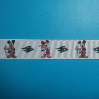 "Swashbuckling Mickey & Minnie 7/8"" Grosgrain Ribbon - Great for Cruise! - Exclusive Design! Limited!!"