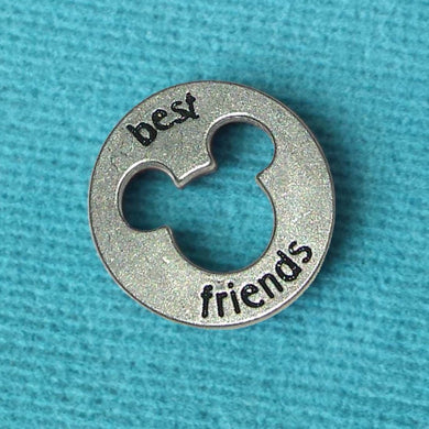 "Disney Pewter ""Best Friends"" Token Coin - ""Pieces of Magic"" with Mickey Head Cutout"