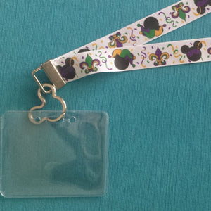 Disney KTTW Card Holder/Lanyard  - Mardi Gras Mickey - Non-scratchy - Child or Adult