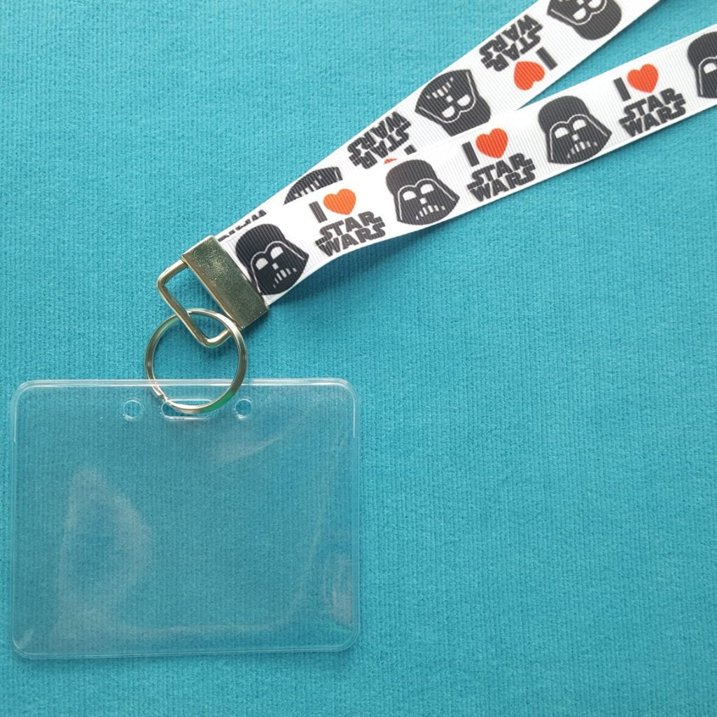 Disney KTTW Card Holder/Lanyard  - I Love Star Wars - Darth Vader - Non-scratchy - Child or Adult