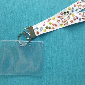 Disney KTTW Card Holder/Lanyard  - Beachy Summer Fun - Flip Flops - Non-scratchy - Child or Adult