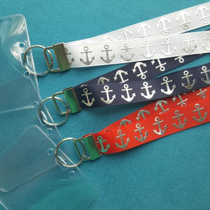 Ribbon Lanyard - Silver Anchor - Anchors Away! - Cruise - Non-scratchy - Child or Adult