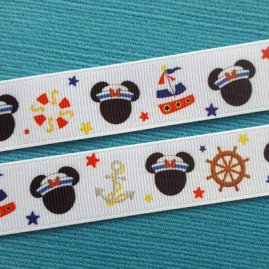 "Nautical Girl Mouse - Minnie 7/8"" Grosgrain Ribbon - for Disney Cruise - Exclusive DCL Design! Limited!"