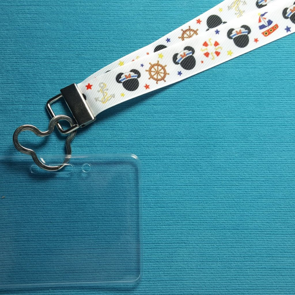 Disney Ribbon Lanyard  - for KTTW card - Disney Cruise - DCL - Nautical Minnie - Non-scratchy - Child or Adult