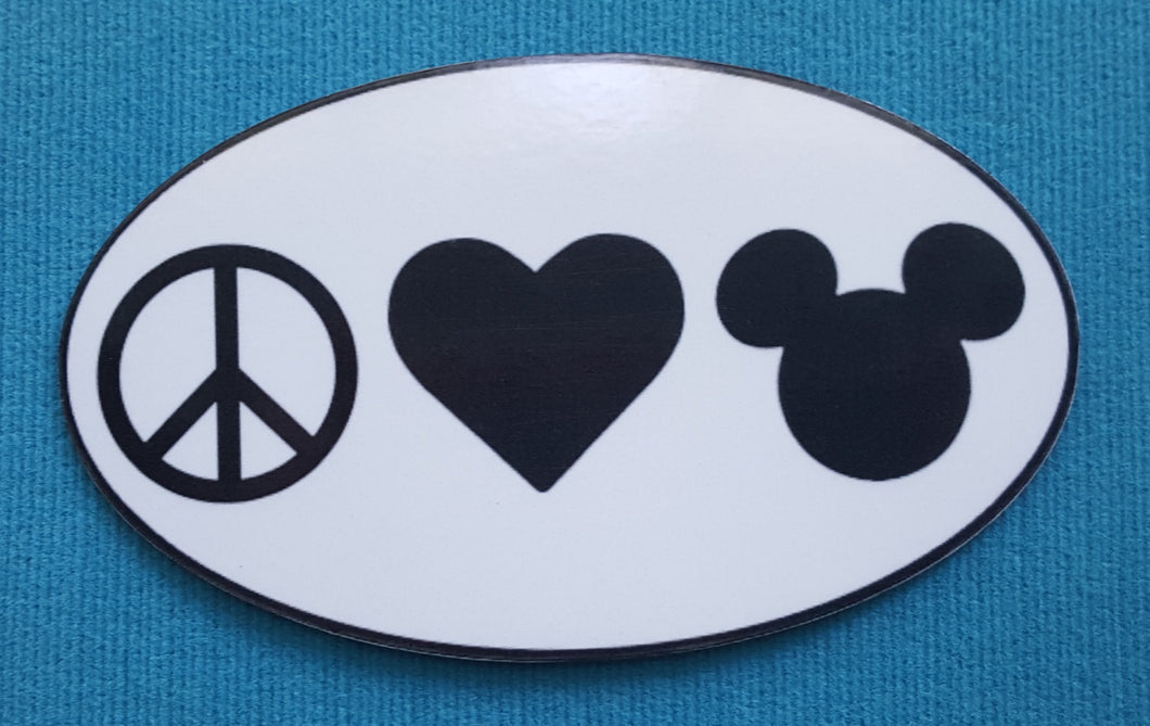 Peace Love Mickey - Bumper Sticker or Car Magnet - Handmade