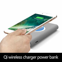 Load image into Gallery viewer, Qi wireless charging power bank grey for iphone