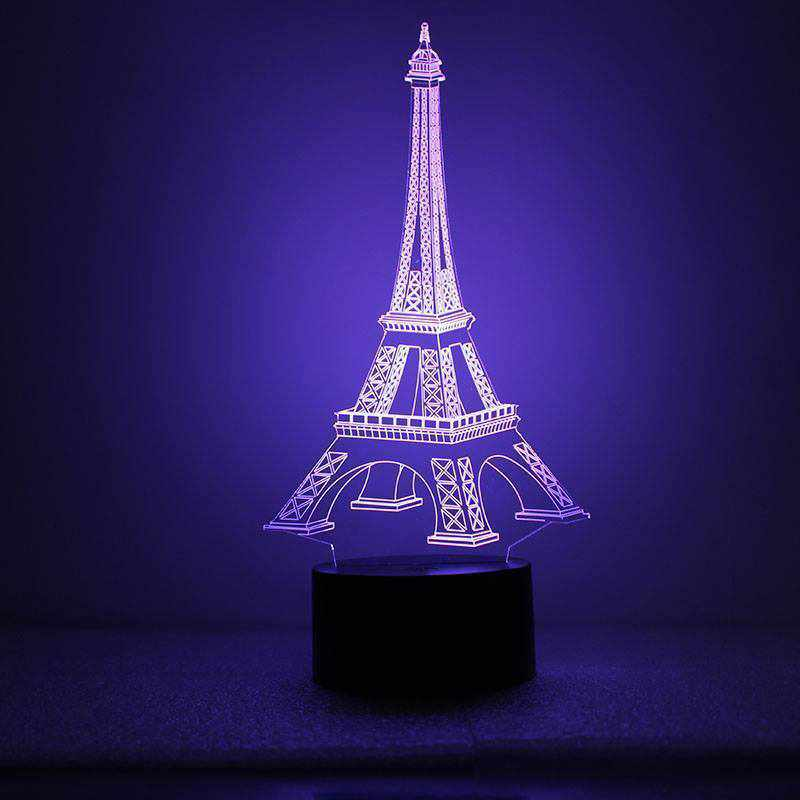 Eiffel Tower LED Night Blue Light 3D