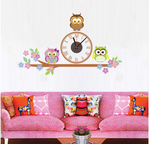 Owl Sticker and Wall Clock