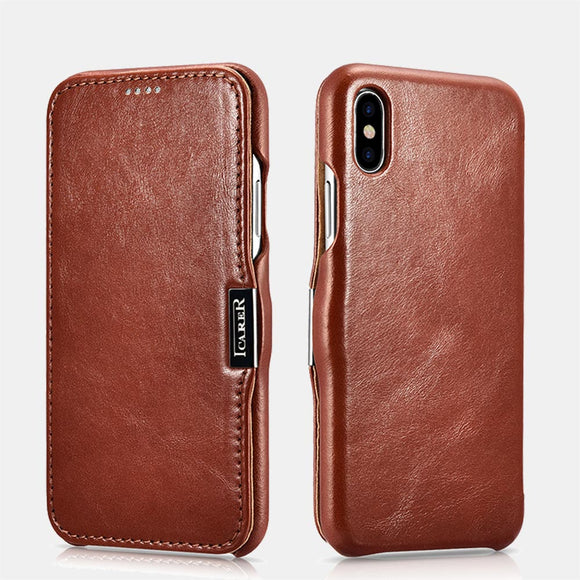 Factory iPhone XS Max Vintage Series Side-open(6.5 inch:Metal clip in the front)Leather Phone Cases