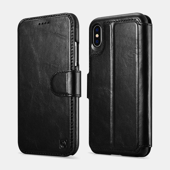 iPhone X/XS Distinguished Series Real Leather Detachable 2 in 1 Wallet Folio Case