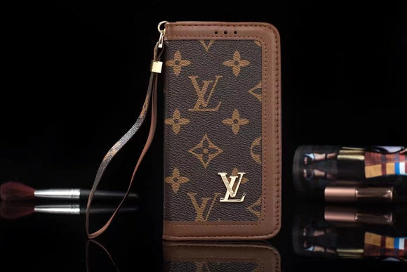 Brown Letters  Leather Plain Edge Wallet Case iPhone  XR XS XS MAX - Shop Louis Vuitton, Gucci & Hermes phone cases for iPhone & Samsung!
