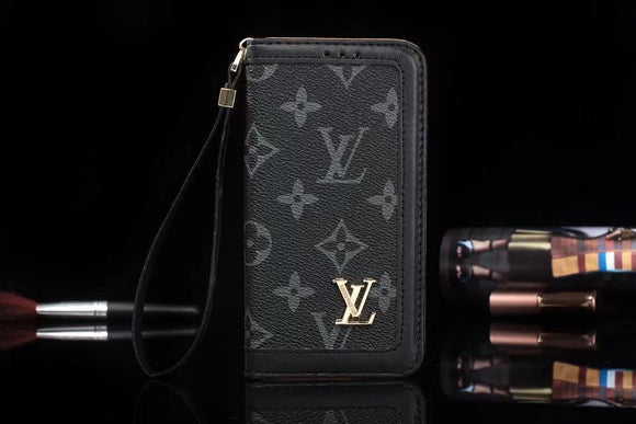 Black Letters Leather Plain Edge Wallet Case iPhone  XR XS XS MAX - Shop Louis Vuitton, Gucci & Hermes phone cases for iPhone & Samsung!