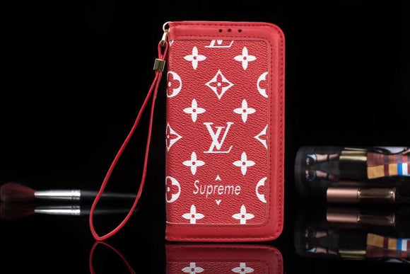 Red Base White Letters Leather Plain Edge Wallet Case iPhone  XR XS XS MAX - Shop Louis Vuitton, Gucci & Hermes phone cases for iPhone & Samsung!
