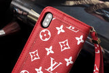 Red Base White Letters Leather Plain Edge Wallet Case iPhone  XR XS XS MAX