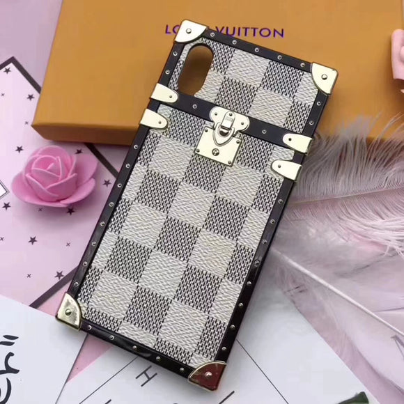 Soft Frame White Leather Trunk Style Case iPhone XR XS XS Max